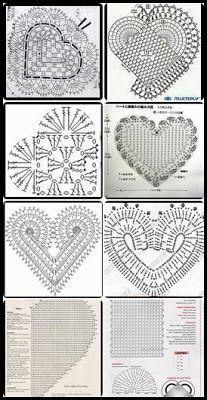 Gráfico para Crochê em Forma de Coração-Gráficos Free Heart Crochet Pattern, Granny Square Crochet Pattern, Crochet Diagram, Crochet Chart, Crochet Mandala, Crochet Motif, Crochet Doilies, Crochet Stitches, Diy Crafts Crochet