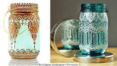 Para reutilizar frascos tornando-os lanternas marroquinas pintados com tinta vitral e relevo.