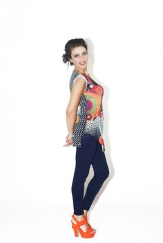 #DIESSE #SpringSummer2016 #shirt-Sleeveless long blouse with drapery, round neck, multicolor geometric print #model #StellaScorzo #photographer #MariannaDepasquale #designer #DiegoSalerno  http://www.diessefashion.it/