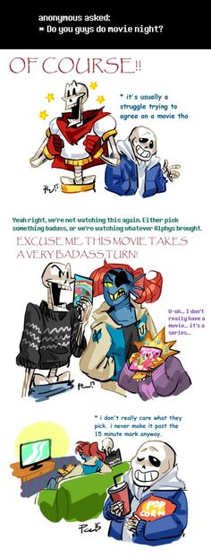 Undertale ask blog: movie night by bPAVLICA on DeviantArt