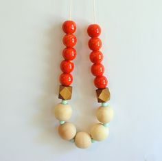 orange and natural wood bead statement necklace - orange, mint, wood - white organic cotton cord