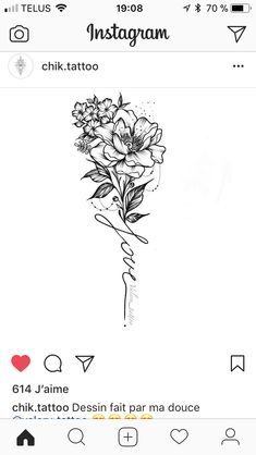 """The flower a daisy and the word """"strong"""" #TattooIdeasFlower"""