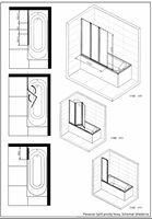 Parawan nawannowy GPNS 3-elementowy lewostronny 120 x 150 cm do wanien prostokątnych - łazienki KOŁO