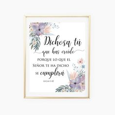 Spanish and English Quotes and Wall Art by PeonyPrintableDesign Christian Birthday Quotes, Christian Memes, Printable Designs, Printable Wall Art, Printables, Bible Verse Art, Bible Verses Quotes, Biblical Verses, Lucas 1 45