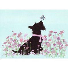 Scottish terrier (scottie) playing with butterfly / Lynch folk art print