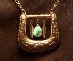 Western Belt Buckle Necklace w/ Turquoise drop. $35.00, via Etsy.