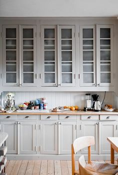 Always Classy: Warm Light Gray Cabinets — Kitchen Inspiration - inspiring - especially if a subway tile is used on the backsplash