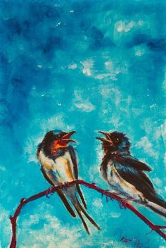 ARTFINDER: Swallows by Kovács Anna Brigitta - Original acrilyc painting on canvas board. I love landscapes, still life, nature and wildlife, lights and shadows, colorful sight. These things inspired me a...