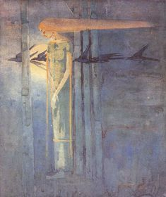 Frances Macdonald MacNair (1873-1921) - Ill Omen: Girl in the East Wind  with Ravens Crossing the Moon. Pencil & Watercolour on Paper. Circa 1893.