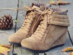 cute tan suede wedge ankle boots, relaxed and casual