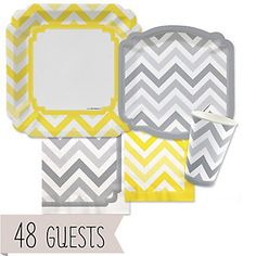 Chevron Yellow and Gray - Everyday Party 48 Big Dot Bundle | BigDotOfHappiness.com