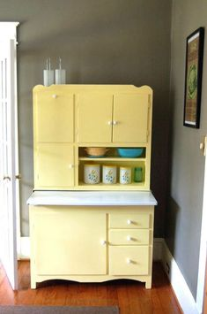 soft yellow -Hoosier Cabinet With Flour Sifter