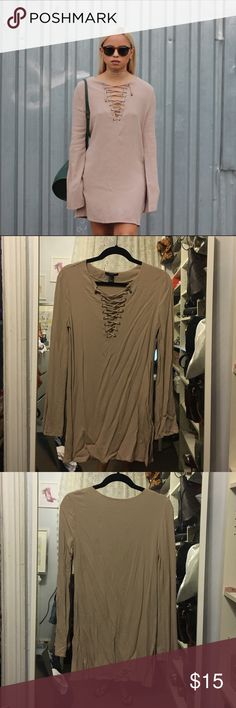 Tie up dress in nude shade Very pretty tie up dress. Definitely on trend, just needs to be ironed or steamed. Forever 21 Dresses Mini