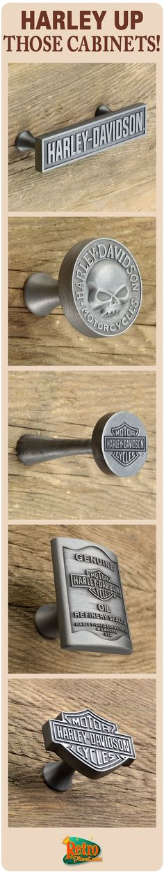 Take your Kitchen, Bath or Workshop Cabinets and drawers to a new level with the heavy duty Harley-Davidson knobs and drawer pulls. Great DIY updates!