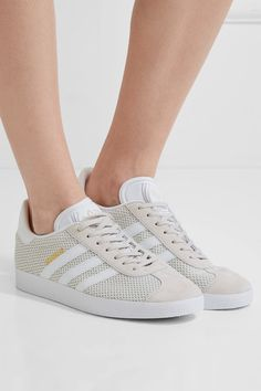 adidas Originals - Samba Suede-trimmed Ostrich-effect Leather Sneakers - White White Sneakers, Leather Sneakers, Adidas Sneakers, Leather And Lace, White Leather, White Shoulder Bags, Designer Shoes, Adidas Originals, Fashion Shoes