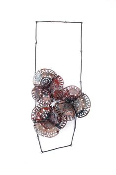 Neckpiece by Francisca Bauza Germany  Statement jewelry  This artist's collection features enameling   on copper and silver.  Some of the colors are    gentle and muted.