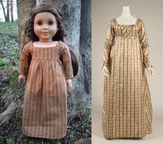 1812 Regency Tan/Rust Dress (Replica of Antique Dress) for American Girl Dolls - by Morgan May @ Stardust Dolls