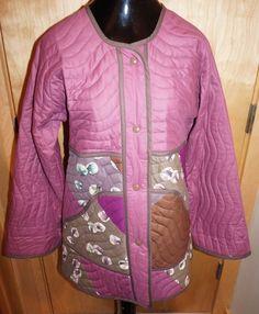 Jeanne Marc SAKS FIFTH AVENUE Vintage Doves Bird Jacket Multi Color Quilted M #JeanneMarc #QuiltCoat