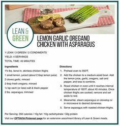 Recipes - Kelly Bonanno Oregano Chicken, Lemon Garlic Chicken, Chicken Asparagus, Medifast Recipes, Low Carb Recipes, Diet Recipes, Healthy Recipes, Healthy Meals, Tasty