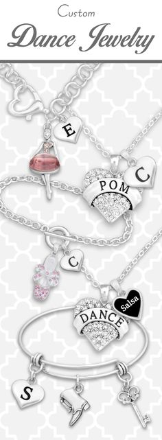 Dance jewelry with custom initials, loved ones, and styles of dance! - $9.98! // Find your style and wear your passion!