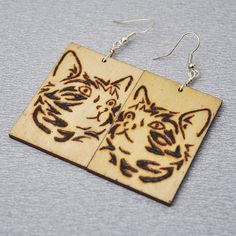 Pokerwork cat earrings  woodburning pyrography technique by PikLus, $15.00