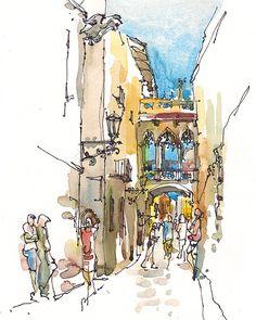 Barcelona, Spanien, gotische Viertel Barri Gotic komplizierte Brücke - archivalische Druck aus einer ursprünglichen Skizze Mein Lieblings Teil der