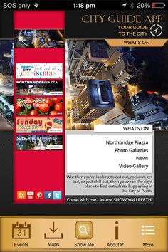 A guide to what's on in the City of Perth: Perth CBD, Northbridge, East Perth & West Perth.  www.visitperthcity.comPerth City aims to highlight news and events currently happening within the City of Perth (CBD, East Perth, West Perth, Northbridge and a portion of Crawley). It is dedicated to promoting events, food and beverage, shopping and attractions within the capital city of WA. Perth City is managed by the City of Perth Local Government Authority.This app features - Live fee...
