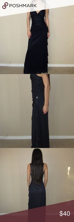 Navy Evening Gown Navy Evening Gown with sparkling rhinestone accents. Perfect for a formal event/night out. Dress size is 3. Would say it fits a M. NWT never used. Dresses