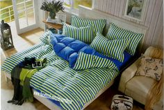 Blue and yellow stripes 100% Cotton bedsheet