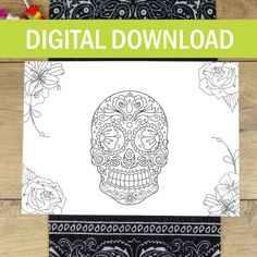 Personalised Halloween Sugar Skull Colour In Placemat - Biker - Day Of The Dead - Dia De Los Muertos - Wedding Table Decor - Placecard - Etsy - LetsDreambyChiChiMoi