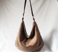 Mocha Brown Hobo  Vegan suede slouch bag  Handmade by ACAmour, $48.00