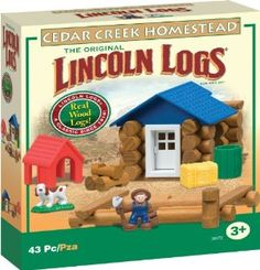 Lincoln Logs Cedar Creek Homestead by Lincoln Logs. $39.95. Real Wood Logs plus colorful figures and accessories. Build a farmer's homestead, complete with a farmer, dog and dog house. Contains 43 pieces. From the Manufacturer                Build a farmer's homestead, complete with a farmer, dog and dog house. Cedar Creek Homestead includes real wood logs plus colorful figures and accessories. Includes step-by-step building instructions.                              ...