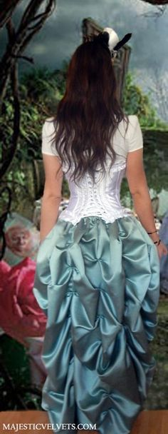 Steampunk Alice in Wonderland Costume: Corset and Bustle Skirt