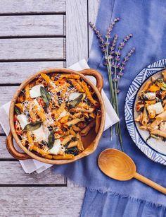Squash, Greens & Halloumi Wholewheat Pasta Bake Pasta Bake, Halloumi, Paella, Squash, Baking, Healthy, Ethnic Recipes, Food, Noodle Casserole