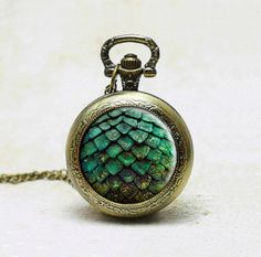 Game of thrones pocket watch necklace photo pendant green dragon egg