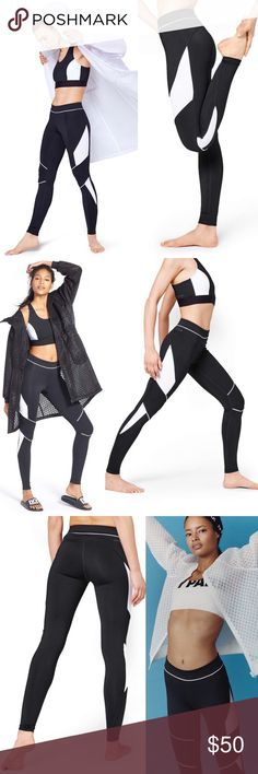 Biker Colorblock Ivy Park Leggings Full length leggings made with breathable stretch fabric with moisture-wicking technology 👌🏽 these leggings are styled with motocross inspired white contrast panels ❤️ the waistband can fold over to expose the logo print☺️ 79% polyester 21% elastane and in perfect condition IVY PARK Pants Leggings