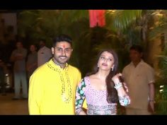 Aishwarya Rai with Abhishek Bachchan celebrates Diwali 2015.