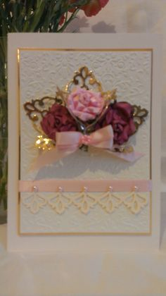 Made using Spellbinders Damask Motifs. Couture Creations Baroque Embossing Folder.