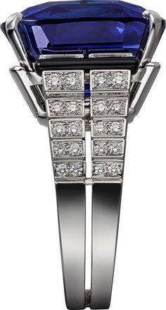 Ring - white gold, one cushion-shaped sapphire from Ceylon, calibré-cut diamonds, onyx, brilliant-cut diamonds. by ilene Gems Jewelry, High Jewelry, Gemstone Jewelry, Jewelry Accessories, Jewelry Design, Jewellery, Antique Jewelry, Vintage Jewelry, Sapphire Jewelry