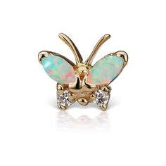 Opal and Diamond Marquise Butterfly Traditional Stud