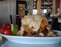 Andy's Sage Fried Chicken Benedict Hash House A Go Go (address and info) This has to happen! Las Vegas Eats, Las Vegas Food, Vegas Fun, Hangover Breakfast, Hangover Food, Eat Breakfast, Breakfast Recipes, Orlando Restaurants, Breakfast Restaurants