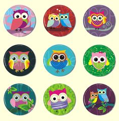 Cute Owl Buttons  Set of 9 PIN BACK buttons  1 by PandaLoveShop, $4.50