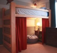 I really like this idea for a kids room. Ive always loved the idea of loft beds, but putting a curtain to cover and it becomes a special alone space. I did this but with a normal bed. I laid underneath but with less room than this.