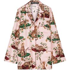 Dolce & Gabbana Printed silk-twill shirt ($1,615) ❤ liked on Polyvore featuring tops, shirts, oversized tops, pastel shirts, print shirts, cat top and colorful shirts