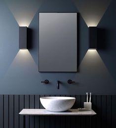 Astro Oslo LED UP/down lights in black looking amazing Interior Design Games, Bathroom Interior Design, Interior Design Living Room, Interior Paint, Delta Light, Powder Room Lighting, Bathroom Lighting, Bathroom Lamps, Simple Bathroom