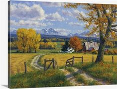 $157.49 · Fall rough dirt road leading through country to house and barn mountains in the background path.