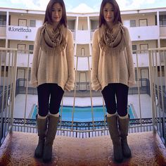Fall outfit: sweater; leggings; scarf; socks; boots