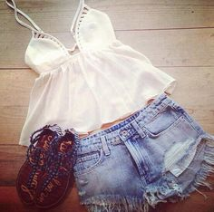 Spring / Summer Outfit - White Flowy Top with Cutouts - Shorts - Studded Sandals