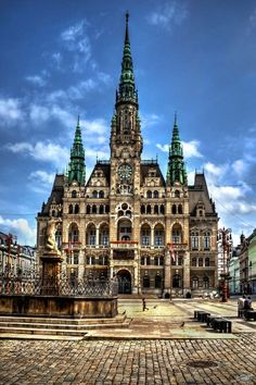 The city hall in Liberec, Czech Republic.