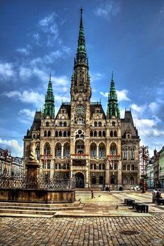 The city hall in Liberec, Czech Republic.